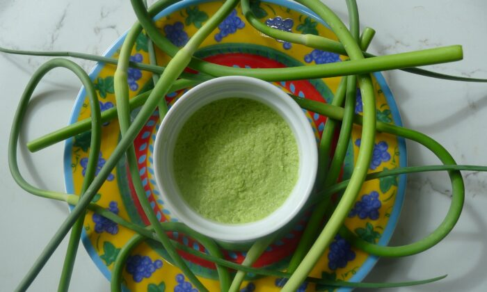 Toum, a Lebanese aioli-like sauce of garlic, salt, and olive oil, made with garlic scapes instead of bulbs. (Ari LeVaux)