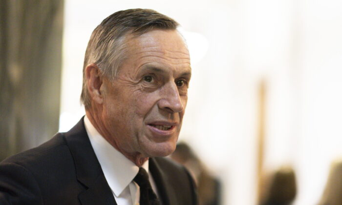Don Morgan, the Saskatchewan minister responsible for SaskTel, at the Legislative Building in Regina on Oct. 23, 2019. (THE CANADIAN PRESS/Michael Bell)