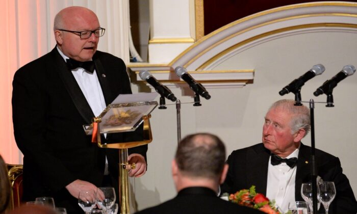 Australia's High Commissioner George Brandis speaks at a Fund Raising Dinner for the 2020 Australian bushfire relief and recovery effort at Mansion House in London, England on March 12, 2020. (Eamonn M. McCormack - WPA Pool/Getty Images)