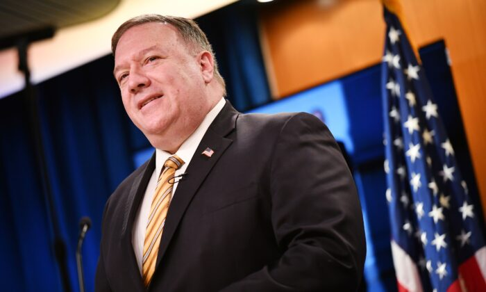 US Secretary of State Mike Pompeo speaks at a press conference at the State Department in Washington, DC on June 24, 2020. (MANDEL NGAN/POOL/AFP via Getty Images)
