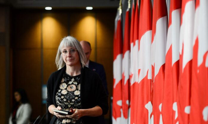 Minister of Health Patty Hajdu arrives to a press conference on Parliament Hill during the COVID-19 pandemic in Ottawa on  June 4, 2020. (The Canadian Press/Sean Kilpatrick)