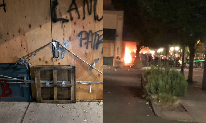An barricaded exit at the Portland Police Bureau's North Precinct in Portland, Ore., late June 25, 2020, on left. On right, a group of rioters setting a fire. (Portland Police Bureau)