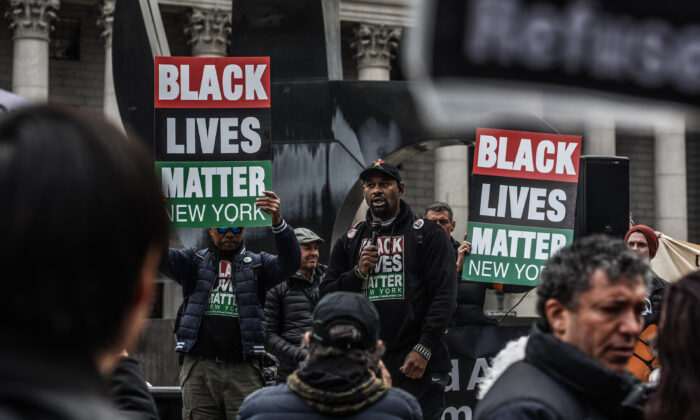 Hawk Newsome of Black Lives Matter Greater New York speaks during a rally in New York City on March 16, 2019. (Stephanie Keith/Getty Images)