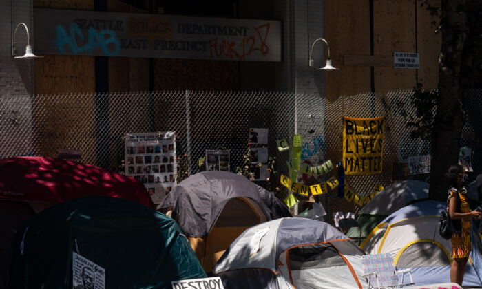 Tents sit outside of the Seattle Police Department's vacated East Precinct in the area known as the Capitol Hill Organized Protest (CHOP) in Seattle, Wash., on June 25, 2020. (David Ryder/Getty Images)