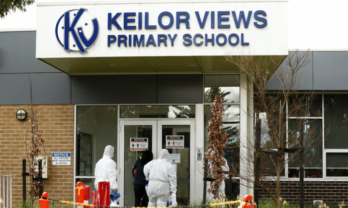 Cleaning crews work to deep clean Keilor Views Primary School in Melbourne, Australia on June 23, 2020. (Darrian Traynor/Getty Images)
