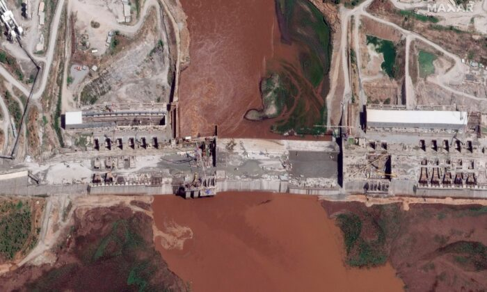 Satellite image taken Thursday, May 28, 2020, shows the Grand Ethiopian Renaissance Dam on the Blue Nile river in the Benishangul-Gumuz region of Ethiopia.(Maxar Technologies via AP, File)