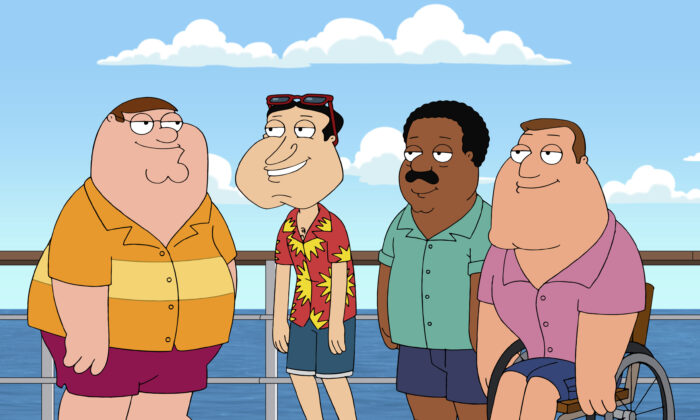 "Animated characters (L-R) Peter Griffin, Glenn Quagmire, both voiced by Seth MacFarlane, Cleveland Brown, voiced by Mike Henry and Joe Swanson, voiced by Patrick Warburton, from the series ""Family Guy."" Henry announced that he will no longer voice the black character Cleveland Brown. (Fox via AP)"