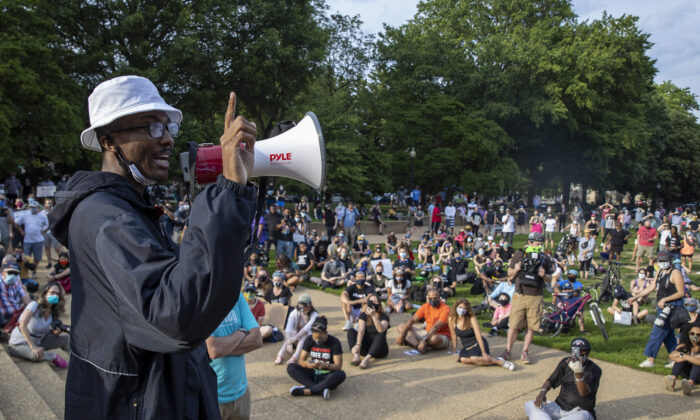 Glenn Foster, an activist seeking to tear down the Emancipation Statue, speaks near the memorial in Washington on June 26, 2020. (Tasos Katopodis/Getty Images)