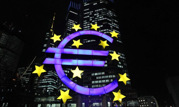 The Euro logo is seen in front of the European Central Bank (ECB) in Frankfurt am Main, Germany, on Jan. 10, (Daniel Roland/AFP via Getty Images)