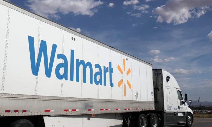 A truck leaves a large regional Walmart distribution center in Washington, Utah, on June 6, 2019. (George Frey/Getty Images)