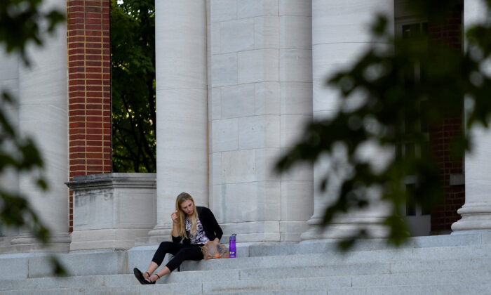 A student on the campus of Peabody College at Vanderbilt University in Nashville, Tenn., on Sept. 18, 2018. (REUTERS/Harrison McClary/File Photo)