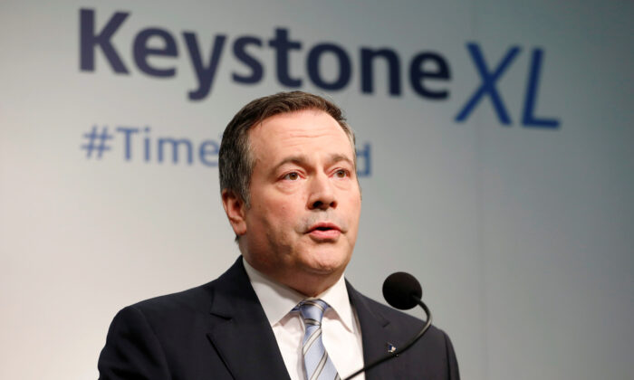 FILE PHOTO: Alberta Premier Jason Kenney delivers a statement in Calgary, Alberta, Canada March 31, 2020.  (REUTERS/Todd Korol)