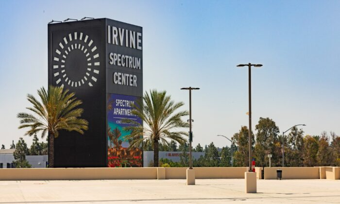 The parking lot of the Irvine Spectrum Center shopping mall stands empty in Irvine, Calif., on June 26, 2020. (John Fredricks/The Epoch Times)