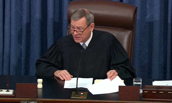 In this screengrab taken from a Senate Television webcast, Supreme Court Chief Justice John Roberts speaks during impeachment proceedings against President Donald Trump in the Senate at the U.S. Capitol in Washington on Feb. 3, 2020. (Senate Television via Getty Images)