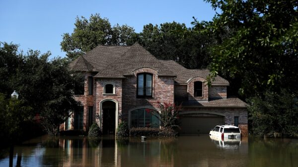 Floodwaters surround a home in Houston, Texas