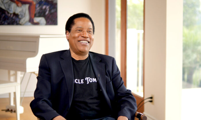 "Talk show host and bestselling author Larry Elder at his home in Los Angeles on June 17, 2020. Elder is the executive producer of the new film ""Uncle Tom."" (Hau Nguyen/The Epoch Times)"