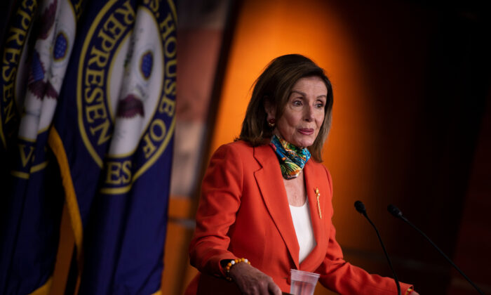 House Speaker Nancy Pelosi (D-Calif.) during a weekly press briefing on Capitol Hill in Washington on June 26, 2020. (Brendan Smialowski/AFP via Getty Images)