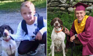Family Recreates Adorable Photo of Boy and His Dog From 1st Grade to Graduation Day