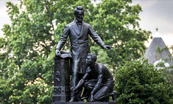 The Emancipation Memorial statue in Washington on June 25, 2020. (Charlotte Cuthbertson/The Epoch Times)