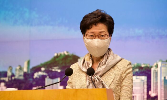 Hong Kong leader Carrie Lam speaks at her weekly press conference on June 30, 2020. (You Gang/The Epoch Times)