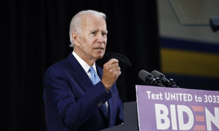 Democratic presidential candidate former Vice President Joe Biden speaks in Wilmington, Del., on June 30, 2020. (Patrick Semansky/AP Photo)