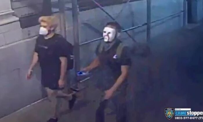 Two suspects captured on surveillance footage defacing George Washington statues, in New York, N.Y., on June 29, 2020. (NYPD)