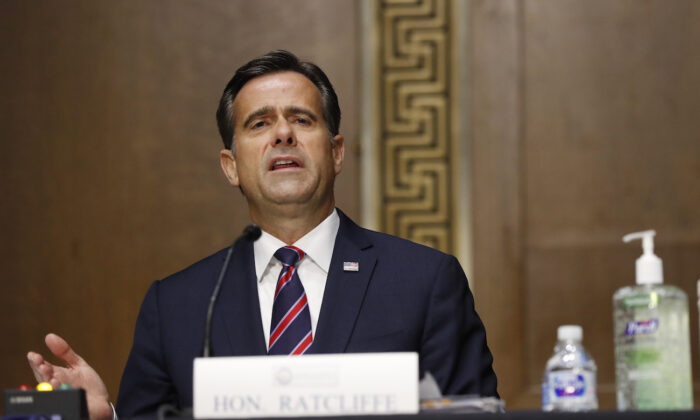 John Ratcliffe at a hearing on Capitol Hill in Washington on May 5, 2020. (Andrew Harnik/Pool/AFP via Getty Images)