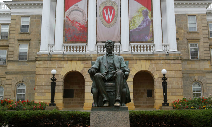 An outside view of Bascom Hall on the campus of the University of Wisconsin–Madison, Wis., on Oct. 12, 2013. (Mike McGinnis/Getty Images)