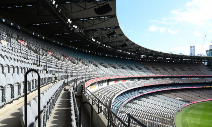 A general view of empty stands at the MCG during the round 1 AFL match between the Hawthorn Hawks and the Brisbane Lions at Melbourne Cricket Ground on March 22, 2020 in Melbourne, Australia. (Quinn Rooney/Getty Images)