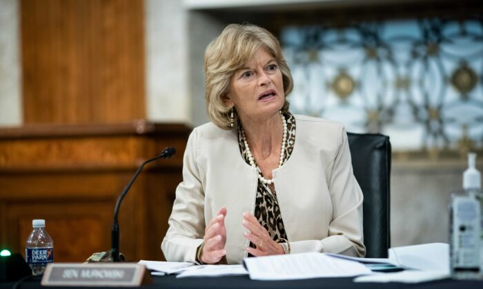 Sen. Lisa Murkowski (R-Alaska) speaks during a hearing in Washington on June 30, 2020. (Al Drago/AFP via Getty Images)