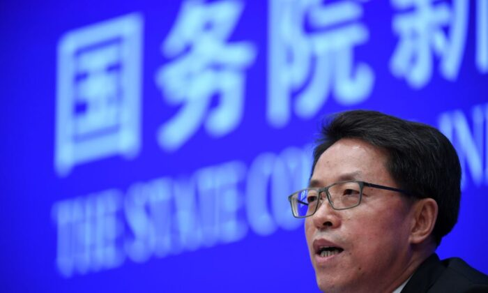 Zhang Xiaoming, deputy director of the Hong Kong and Macao Affairs Office of the State Council, speaks at a press conference in Beijing on July 1, 2020. (Greg Baker/AFP via Getty Images)