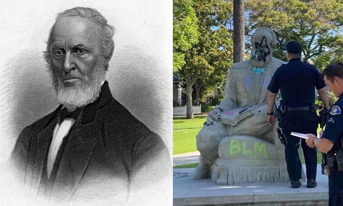 Left: A portrait of American poet and abolitionist John Greenleaf Whittier (1804-1892), circa 1860. (Hulton Archive/Getty Images) Right: The vandalized statue of J.G. Whittier in Central Park, Whittier, Calif., in 2020. (Reddit.com)