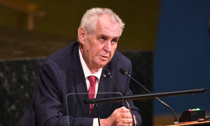 Milosh Zeman, president of the Czech Republic, addresses the 72nd session of the General Assembly at the United Nations in New York, on Sept. 19, 2017.  (Don Emmert/AFP/Getty Images)