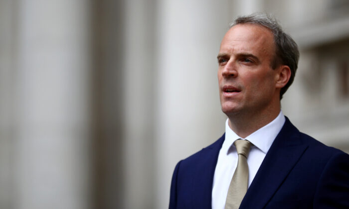 Britain's Foreign Secretary Dominic Raab makes a statement on Hong Kong's national security legislation in London, Britain, on July 1, 2020. (Hannah McKay/Reuters)