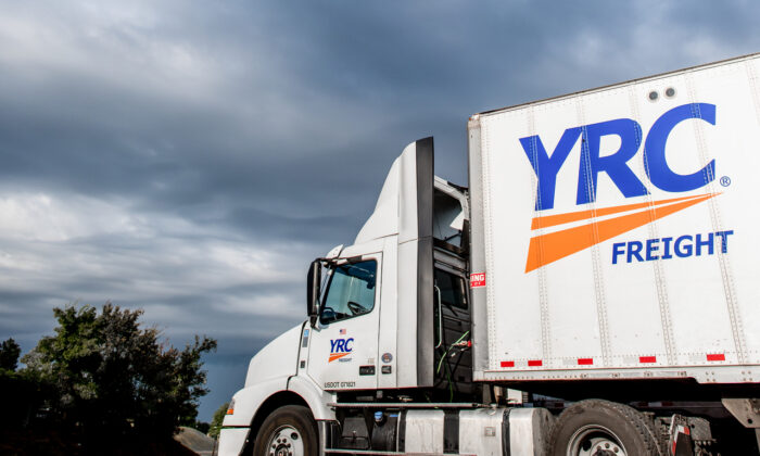 This file image shows a YRC Worldwide Inc. truck on the road. (Image courtesy of YRCW Inc.)