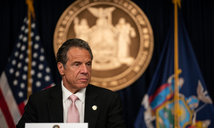 New York Gov. Andrew Cuomo speaks at a media briefing in New York City on June 12, 2020. (Jeenah Moon/Getty Images)
