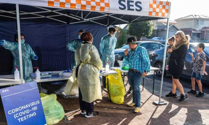 Pop-up Covid-19 testing tent during a COVID-19 testing blitz in the suburb of Broadmeadows  in Melbourne, Australia on June 28, 2020. (Asanka Ratnayake/Getty Images)