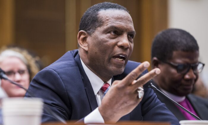 Former NFL player Burgess Owens testifies during a hearing on slavery reparations held by the House Judiciary Subcommittee on the Constitution, Civil Rights and Civil Liberties in Washington in a June 19, 2019, file photograph. Owens won a congressional primary on June 30, 2020. (Zach Gibson/Getty Images)
