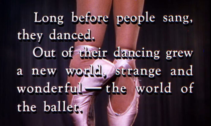 """The opening dedication to ballet in """"Unfinished Dance."""" MGM. (Fair Use)"""
