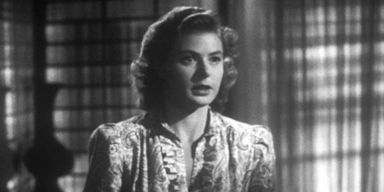 """woman with tears in her eyes in """"Casablanca"""""""