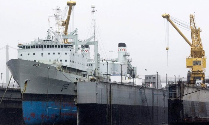 The navy supply ship HMCS Preserver sits at dry dock while undergoing refit in Halifax on July 14, 2010. The Royal Canadian Navy has been without a full-time support ship since 2014 as a plan to build two new ones continues to be plagued by delays and budget increases. (The Canadian Press/Andrew Vaughan)
