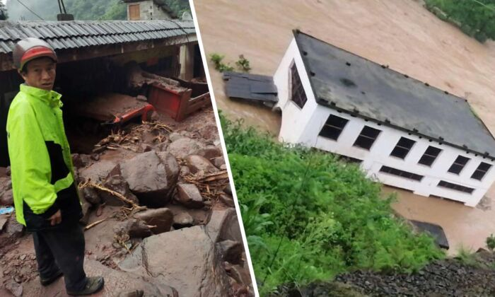 A house is inundated by floodwaters, while a villager stands in front of his mudslide-buried house and truck in Yiliang county, Zhaotong city, in Yunnan, China, on July 1, 2020. (Provided to The Epoch Times by interviewee)