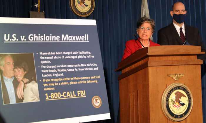 Acting US Attorney for the Southern District of New York, Audrey Strauss, speaks to the media at a press conference to announce the arrest of Ghislaine Maxwell, the longtime girlfriend and accused accomplice of deceased accused sex-trafficker Jeffrey Epstein, in New York City, on July 2, 2020. (Spencer Platt/Getty Images)
