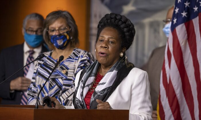 Rep. Sheila Jackson Lee (D-Texas) speaks about H.R. 40 at a Congressional Black Caucus press conference on Capitol Hill in Washington on July 1, 2020. (Tasos Katopodis/Getty Images)