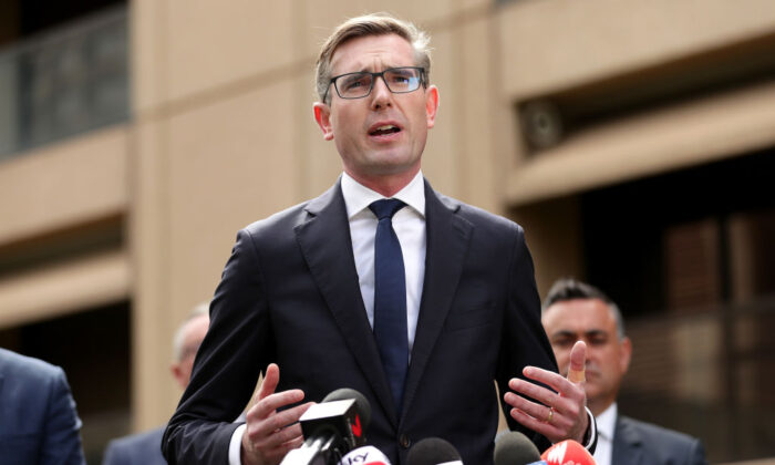 New South Wales Treasurer Dominic Perrottet addresses the media during a press conference at NSW Parliament House on March 17, 2020 in Sydney, Australia.  (Mark Metcalfe/Getty Images)