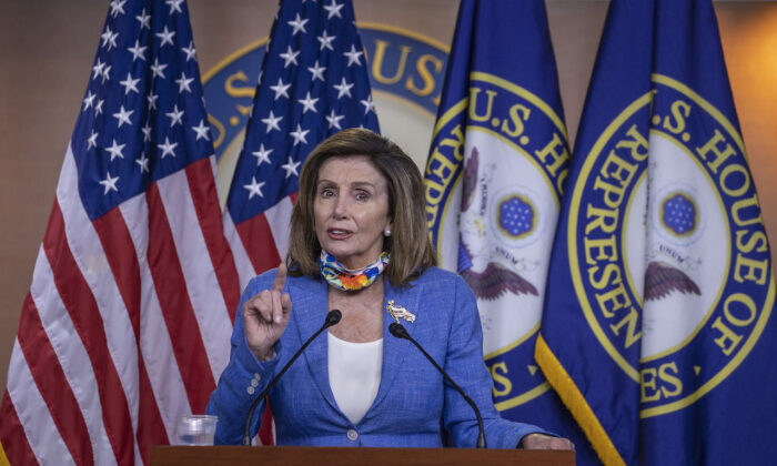Speaker of the House Nancy Pelosi (D-Calif.) speaks at a press conference on Capitol Hill in Washington, on June 29, 2020. (Tasos Katopodis/Getty Images)