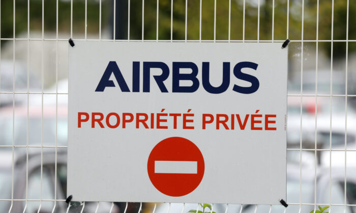 The logo of Airbus is seen at Airbus Helicopters facility in Dugny, near Paris, France, on July 1, 2020. (Charles Platiau/Reuters)