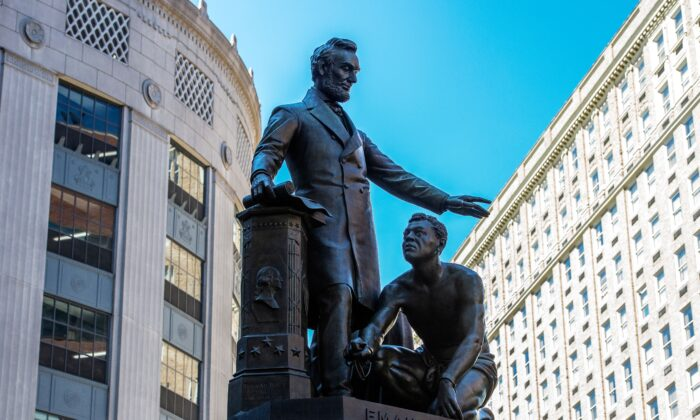 The Abraham Lincoln Statue, erected in 1879, by Thomas Ball, in Park Square in Boston, Massachusetts, on June 16, 2020. (Joseph Prezioso/AFP via Getty Images)
