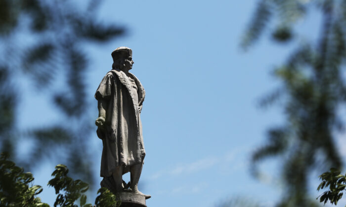 A statue to the famed explorer Christopher Columbus stands in Columbus Circle in New York, N.Y., on June 25, 2020. (Spencer Platt/Getty Images)
