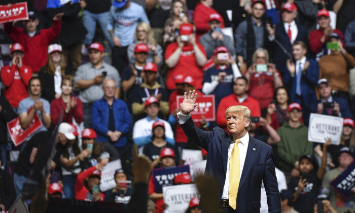 President Donald Trump waves to supporters during a Keep America Great rally in Colorado Springs, Colorado, on Feb. 20, 2020. (Michael Ciaglo/Getty Images)